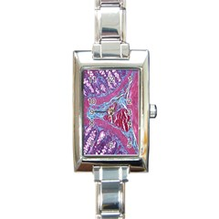 Natural Stone Red Blue Space Explore Medical Illustration Alternative Rectangle Italian Charm Watch by Mariart