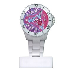 Natural Stone Red Blue Space Explore Medical Illustration Alternative Plastic Nurses Watch