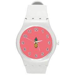 Pineapple Fruite Minimal Wallpaper Round Plastic Sport Watch (m) by Mariart