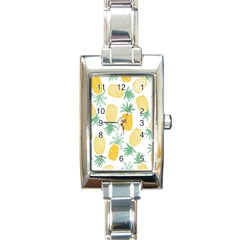 Pineapple Fruite Seamless Pattern Rectangle Italian Charm Watch