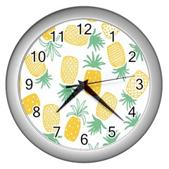 Pineapple Fruite Seamless Pattern Wall Clocks (silver)  by Mariart