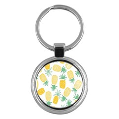Pineapple Fruite Seamless Pattern Key Chains (round)  by Mariart