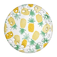 Pineapple Fruite Seamless Pattern Round Filigree Ornament (two Sides) by Mariart