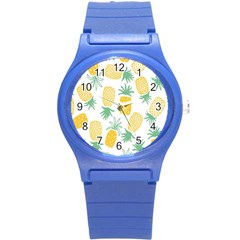 Pineapple Fruite Seamless Pattern Round Plastic Sport Watch (s) by Mariart