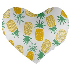 Pineapple Fruite Seamless Pattern Large 19  Premium Flano Heart Shape Cushions by Mariart
