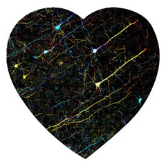 Neurons Light Neon Net Jigsaw Puzzle (heart) by Mariart