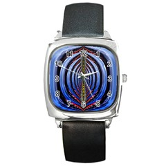 Illustration Robot Wave Rainbow Square Metal Watch by Mariart