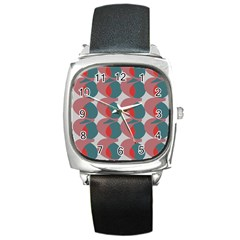Pink Red Grey Three Art Square Metal Watch by Mariart