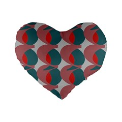 Pink Red Grey Three Art Standard 16  Premium Heart Shape Cushions