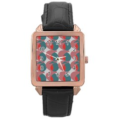 Pink Red Grey Three Art Rose Gold Leather Watch