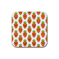 Seamless Background Carrots Emotions Illustration Face Smile Cry Cute Orange Rubber Square Coaster (4 Pack)  by Mariart