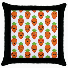 Seamless Background Carrots Emotions Illustration Face Smile Cry Cute Orange Throw Pillow Case (black) by Mariart