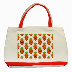 Seamless Background Carrots Emotions Illustration Face Smile Cry Cute Orange Classic Tote Bag (red) by Mariart
