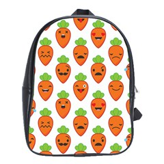 Seamless Background Carrots Emotions Illustration Face Smile Cry Cute Orange School Bag (large)
