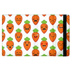 Seamless Background Carrots Emotions Illustration Face Smile Cry Cute Orange Apple Ipad 2 Flip Case by Mariart