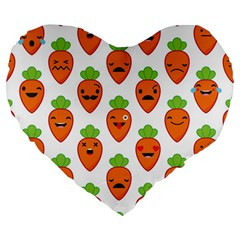 Seamless Background Carrots Emotions Illustration Face Smile Cry Cute Orange Large 19  Premium Heart Shape Cushions by Mariart