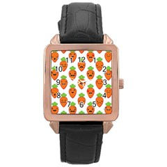 Seamless Background Carrots Emotions Illustration Face Smile Cry Cute Orange Rose Gold Leather Watch  by Mariart