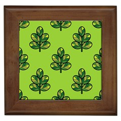 Seamless Background Green Leaves Black Outline Framed Tiles by Mariart