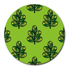 Seamless Background Green Leaves Black Outline Round Mousepads by Mariart