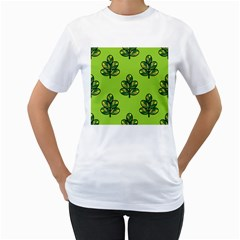 Seamless Background Green Leaves Black Outline Women s T Shirt (white) (two Sided) by Mariart