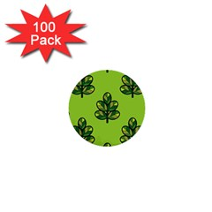 Seamless Background Green Leaves Black Outline 1  Mini Buttons (100 Pack)  by Mariart