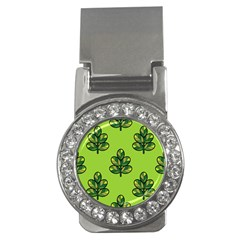 Seamless Background Green Leaves Black Outline Money Clips (cz)