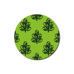 Seamless Background Green Leaves Black Outline Rubber Coaster (round)  by Mariart