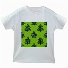 Seamless Background Green Leaves Black Outline Kids White T Shirts