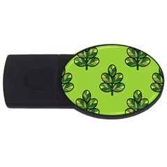 Seamless Background Green Leaves Black Outline Usb Flash Drive Oval (2 Gb) by Mariart