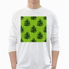 Seamless Background Green Leaves Black Outline White Long Sleeve T Shirts