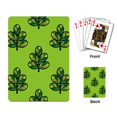 Seamless Background Green Leaves Black Outline Playing Card