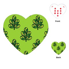 Seamless Background Green Leaves Black Outline Playing Cards (heart)  by Mariart