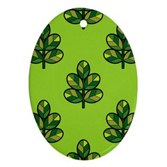 Seamless Background Green Leaves Black Outline Oval Ornament (two Sides) by Mariart