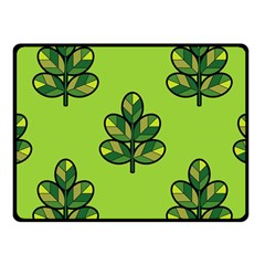 Seamless Background Green Leaves Black Outline Fleece Blanket (small) by Mariart