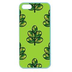 Seamless Background Green Leaves Black Outline Apple Seamless Iphone 5 Case (color) by Mariart