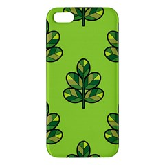 Seamless Background Green Leaves Black Outline Apple Iphone 5 Premium Hardshell Case by Mariart