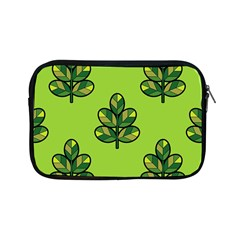 Seamless Background Green Leaves Black Outline Apple Ipad Mini Zipper Cases by Mariart