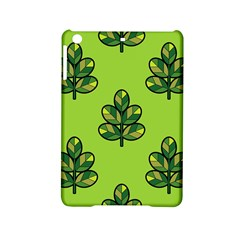 Seamless Background Green Leaves Black Outline Ipad Mini 2 Hardshell Cases by Mariart