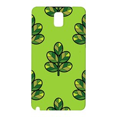 Seamless Background Green Leaves Black Outline Samsung Galaxy Note 3 N9005 Hardshell Back Case by Mariart