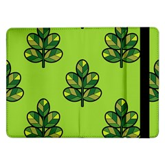 Seamless Background Green Leaves Black Outline Samsung Galaxy Tab Pro 12 2  Flip Case by Mariart