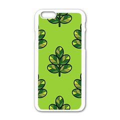 Seamless Background Green Leaves Black Outline Apple Iphone 6/6s White Enamel Case by Mariart