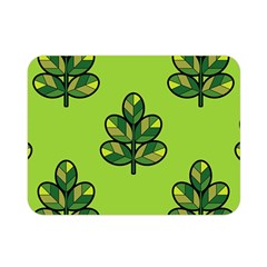 Seamless Background Green Leaves Black Outline Double Sided Flano Blanket (mini)  by Mariart