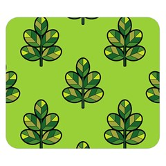 Seamless Background Green Leaves Black Outline Double Sided Flano Blanket (small)  by Mariart
