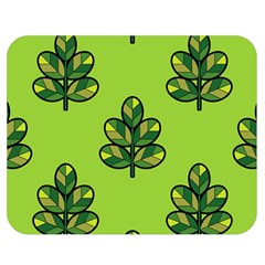 Seamless Background Green Leaves Black Outline Double Sided Flano Blanket (medium)  by Mariart