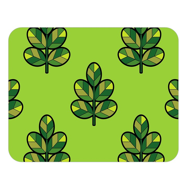 Seamless Background Green Leaves Black Outline Double Sided Flano Blanket (Large)