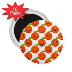 Seamless Background Orange Emotions Illustration Face Smile  Mask Fruits 2 25  Magnets (10 Pack)  by Mariart