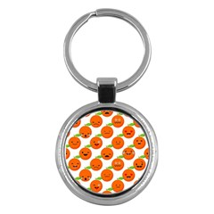 Seamless Background Orange Emotions Illustration Face Smile  Mask Fruits Key Chains (round)  by Mariart