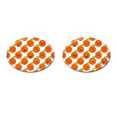 Seamless Background Orange Emotions Illustration Face Smile  Mask Fruits Cufflinks (oval) by Mariart