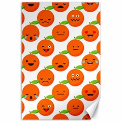 Seamless Background Orange Emotions Illustration Face Smile  Mask Fruits Canvas 24  X 36