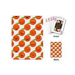 Seamless Background Orange Emotions Illustration Face Smile  Mask Fruits Playing Cards (mini)  by Mariart